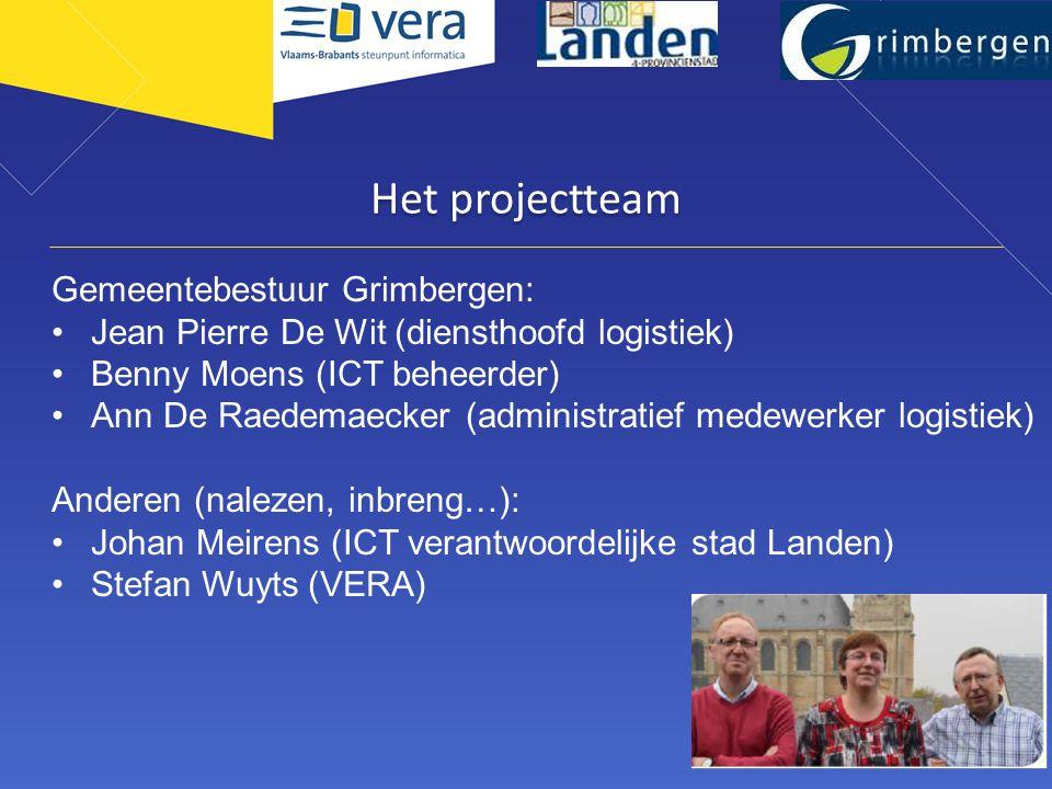 Het projectteam Gemeentebestuur Grimbergen: •Jean Pierre De Wit (diensthoofd logistiek) •Benny Moens (ICT beheerder) •Ann De Raedemaecker (administratief medewerker logistiek) Anderen (nalezen, inbreng…): •Johan Meirens (ICT verantwoordelijke stad Landen) •Stefan Wuyts (VERA)
