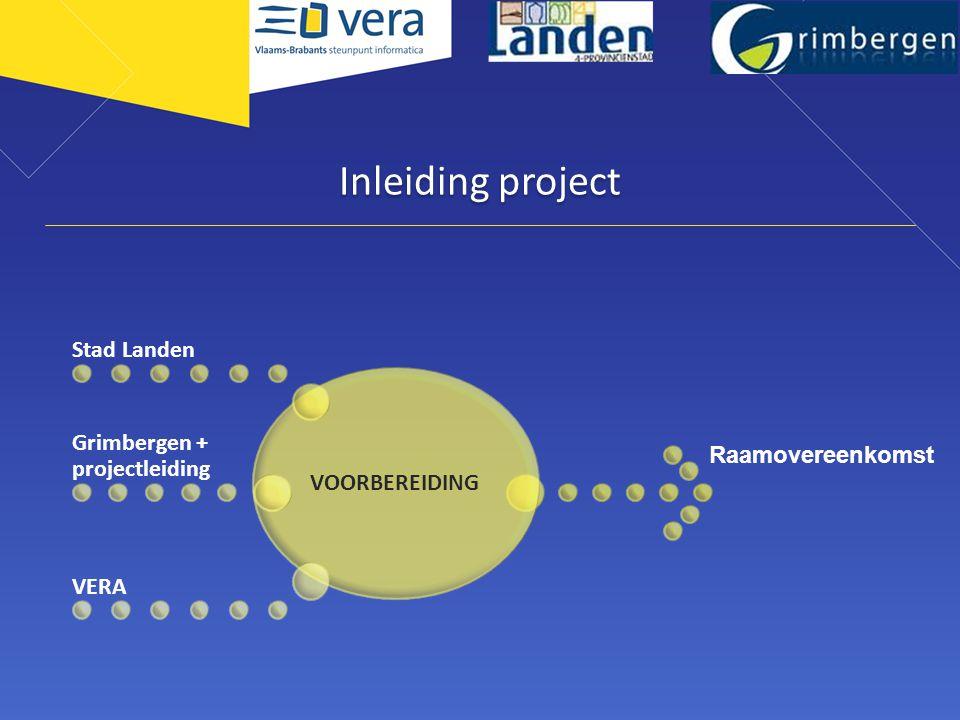 Inleiding project VOORBEREIDING Stad Landen Grimbergen + projectleiding VERA Raamovereenkomst