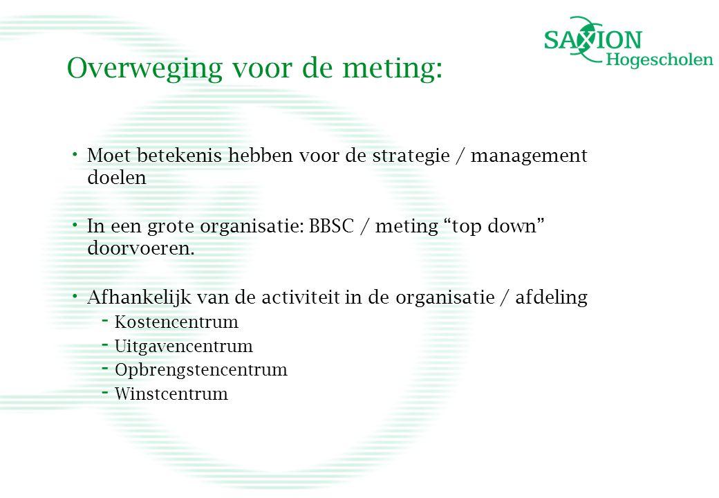 """Overweging voor de meting: • Moet betekenis hebben voor de strategie / management doelen • In een grote organisatie: BBSC / meting """"top down"""" doorvoer"""