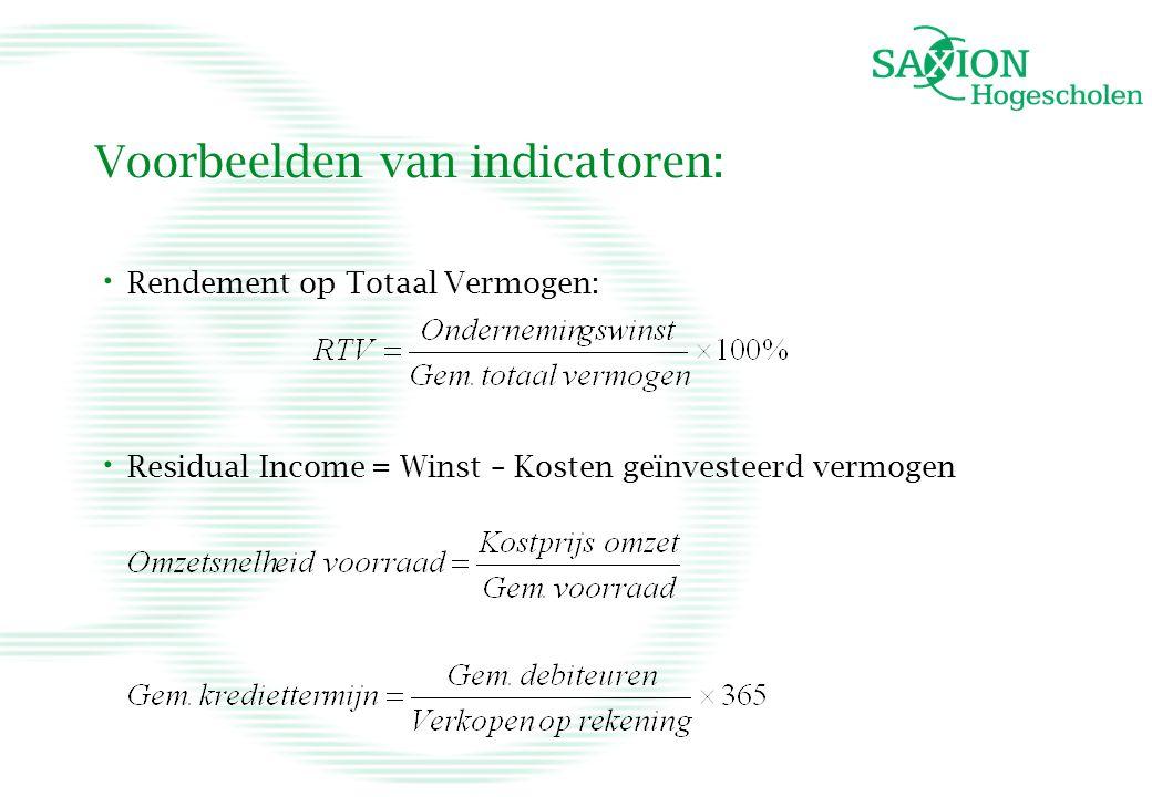 Voorbeelden van indicatoren: • Rendement op Totaal Vermogen: • Residual Income = Winst – Kosten geïnvesteerd vermogen