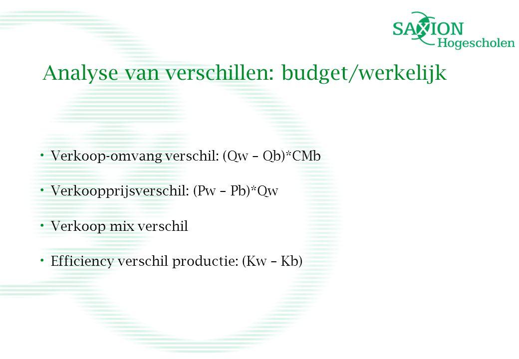 Analyse van verschillen: budget/werkelijk • Verkoop-omvang verschil: (Qw – Qb)*CMb • Verkoopprijsverschil: (Pw – Pb)*Qw • Verkoop mix verschil • Effic