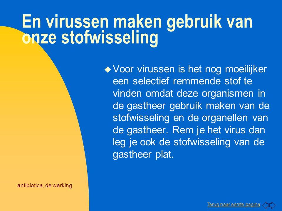 Terug naar eerste pagina antibiotica, de werking En virussen maken gebruik van onze stofwisseling u Voor virussen is het nog moeilijker een selectief