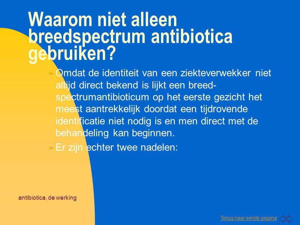 Terug naar eerste pagina antibiotica, de werking Waarom niet alleen breedspectrum antibiotica gebruiken? F Omdat de identiteit van een ziekteverwekker