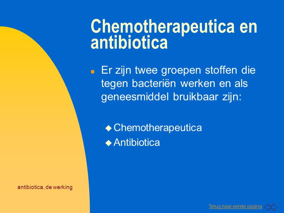 Terug naar eerste pagina antibiotica, de werking Chemotherapeutica n Dit zijn chemisch bereide stoffen die in het lichaam selectief werkzaam zijn tegen micro- organismen