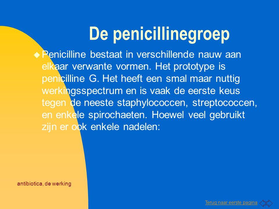 Terug naar eerste pagina antibiotica, de werking De penicillinegroep u Penicilline bestaat in verschillende nauw aan elkaar verwante vormen. Het proto