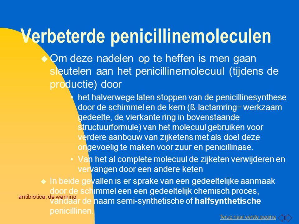 Terug naar eerste pagina antibiotica, de werking Verbeterde penicillinemoleculen u Om deze nadelen op te heffen is men gaan sleutelen aan het penicill