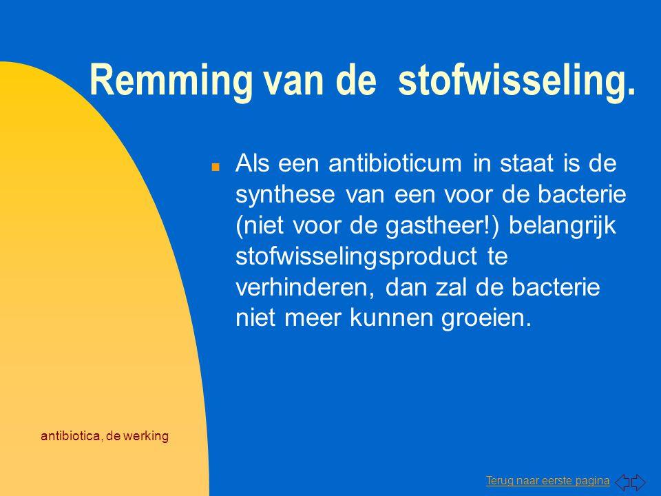 Terug naar eerste pagina antibiotica, de werking Remming van de stofwisseling. n Als een antibioticum in staat is de synthese van een voor de bacterie