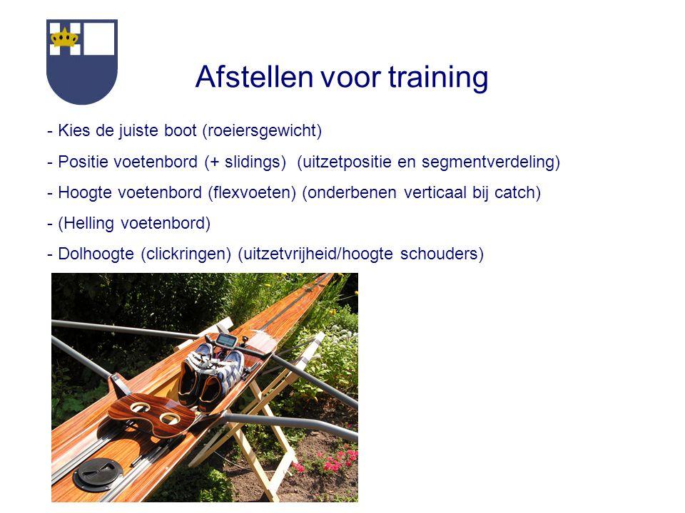 Afstellen voor training - Kies de juiste boot (roeiersgewicht) - Positie voetenbord (+ slidings) (uitzetpositie en segmentverdeling) - Hoogte voetenbord (flexvoeten) (onderbenen verticaal bij catch) - (Helling voetenbord) - Dolhoogte (clickringen) (uitzetvrijheid/hoogte schouders)