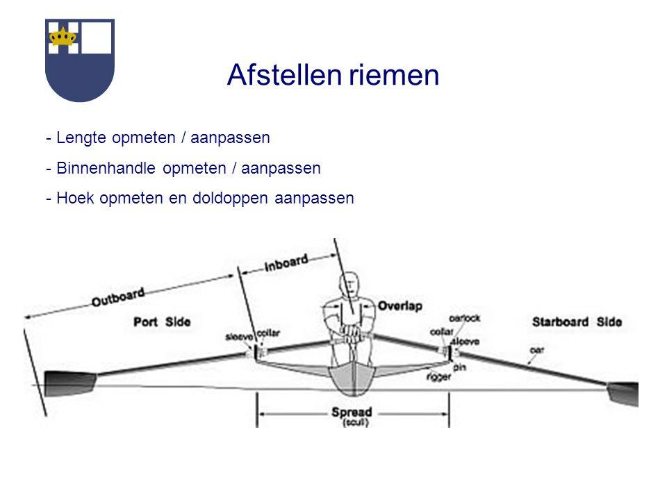 Afstellen riemen - Lengte opmeten / aanpassen - Binnenhandle opmeten / aanpassen - Hoek opmeten en doldoppen aanpassen