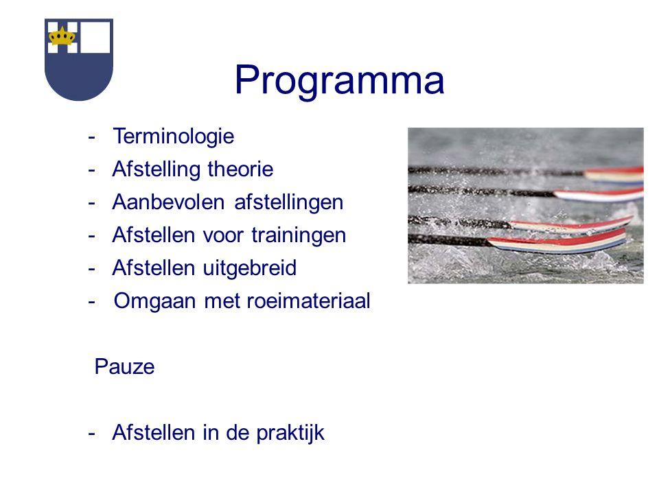 Programma - Terminologie - Afstelling theorie - Aanbevolen afstellingen - Afstellen voor trainingen - Afstellen uitgebreid - Omgaan met roeimateriaal Pauze - Afstellen in de praktijk