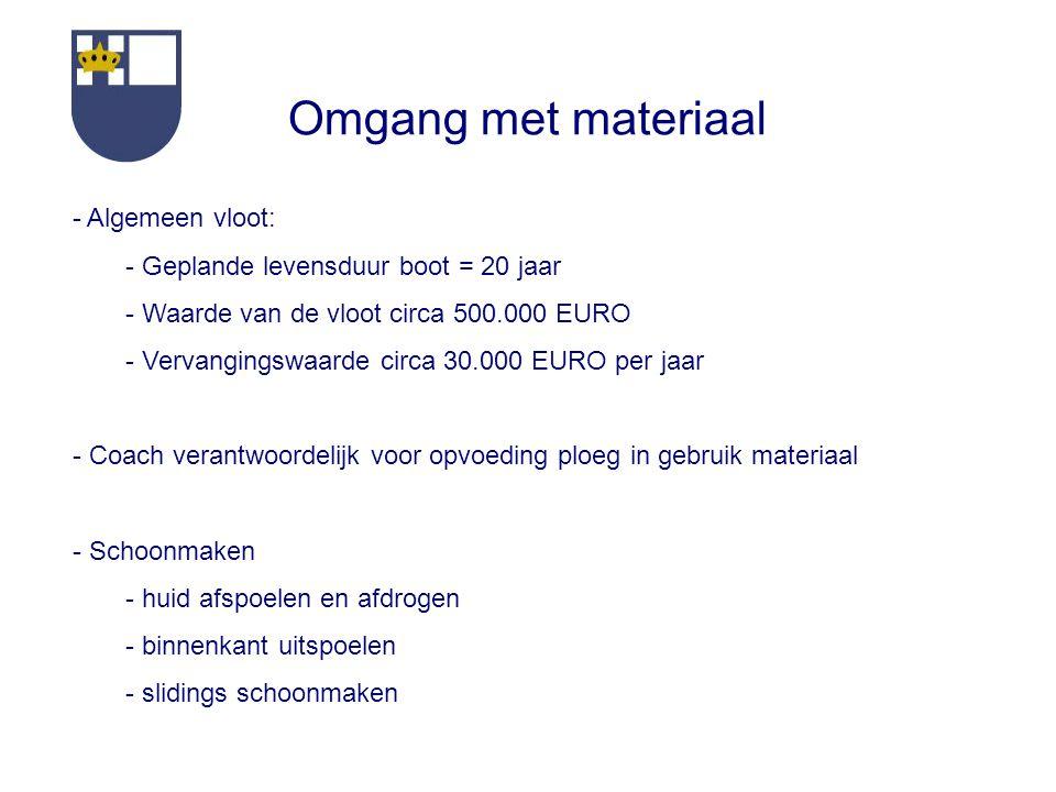 Omgang met materiaal - Algemeen vloot: - Geplande levensduur boot = 20 jaar - Waarde van de vloot circa 500.000 EURO - Vervangingswaarde circa 30.000