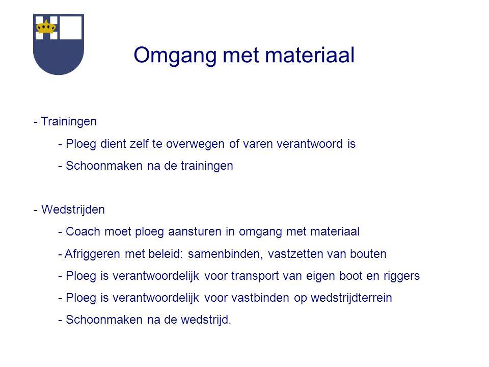 Omgang met materiaal - Trainingen - Ploeg dient zelf te overwegen of varen verantwoord is - Schoonmaken na de trainingen - Wedstrijden - Coach moet pl
