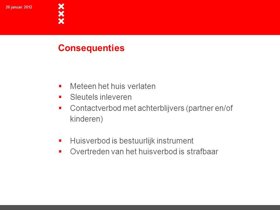 Consequenties  Meteen het huis verlaten  Sleutels inleveren  Contactverbod met achterblijvers (partner en/of kinderen)  Huisverbod is bestuurlijk