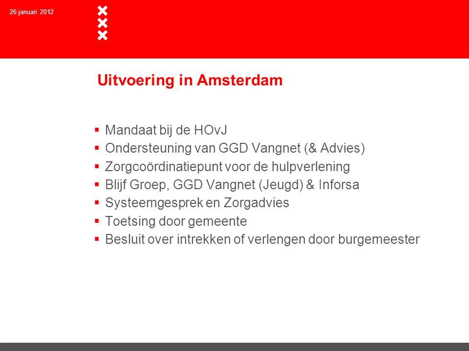Uitvoering in Amsterdam  Mandaat bij de HOvJ  Ondersteuning van GGD Vangnet (& Advies)  Zorgcoördinatiepunt voor de hulpverlening  Blijf Groep, GG