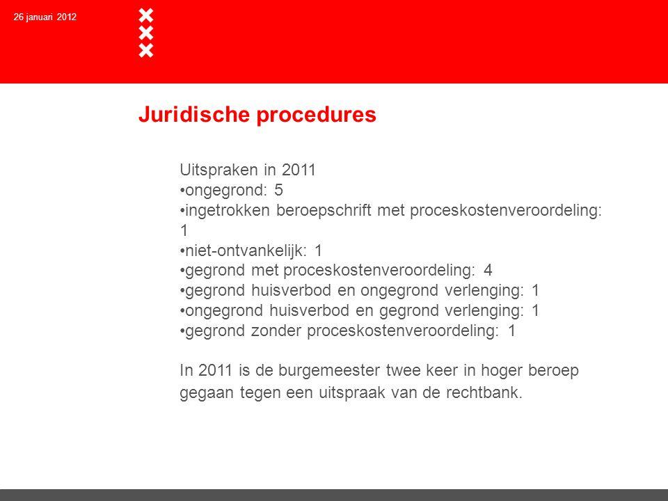 Juridische procedures 26 januari 2012 Uitspraken in 2011 •ongegrond: 5 •ingetrokken beroepschrift met proceskostenveroordeling: 1 •niet-ontvankelijk: