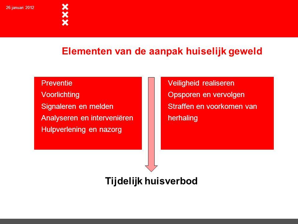 26 januari 2012 Elementen van de aanpak huiselijk geweld  Preventie  Voorlichting  Signaleren en melden  Analyseren en interveniëren  Hulpverleni