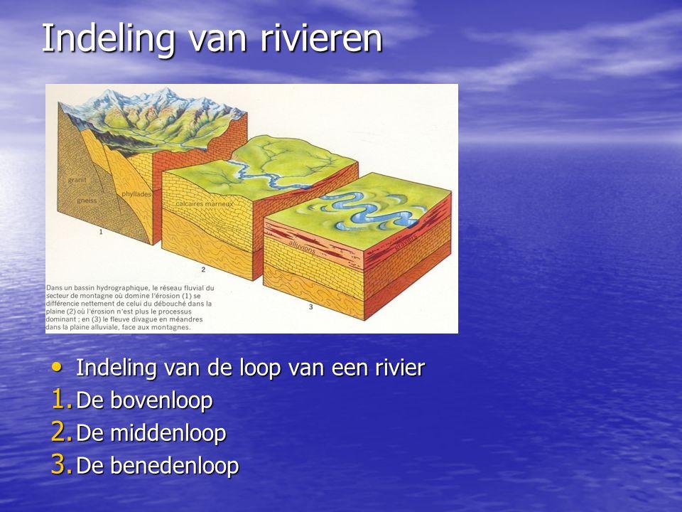 Indeling van rivieren • Indeling van de loop van een rivier 1. De bovenloop 2. De middenloop 3. De benedenloop