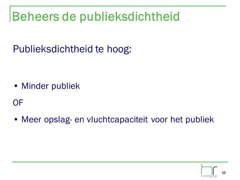 16 Beheers de publieksdichtheid Publieksdichtheid te hoog: • Minder publiek OF • Meer opslag- en vluchtcapaciteit voor het publiek