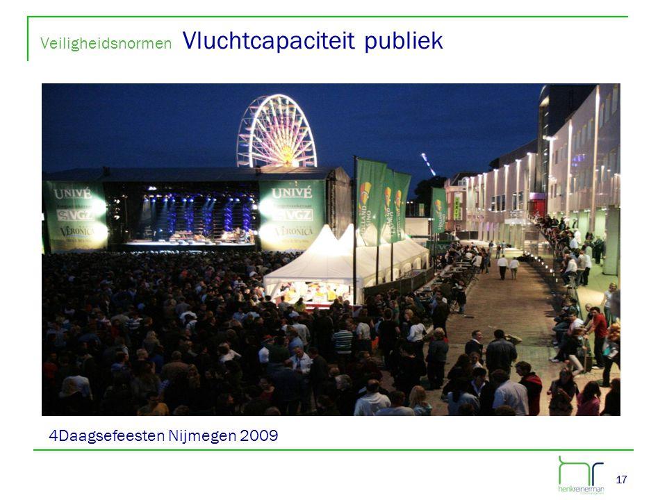 17 Veiligheidsnormen Vluchtcapaciteit publiek 17 4Daagsefeesten Nijmegen 2009