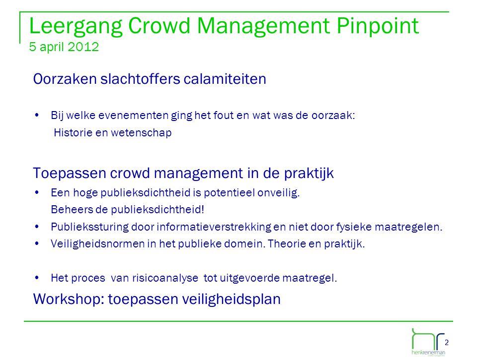 22 Leergang Crowd Management Pinpoint 5 april 2012 Oorzaken slachtoffers calamiteiten •Bij welke evenementen ging het fout en wat was de oorzaak: Hist