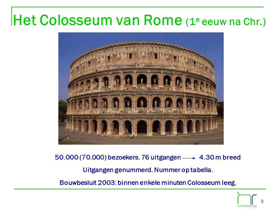 33 Het Colosseum van Rome (1 e eeuw na Chr.) 50.000 (70.000) bezoekers. 76 uitgangen 4.30 m breed Uitgangen genummerd. Nummer op tabella. Bouwbesluit