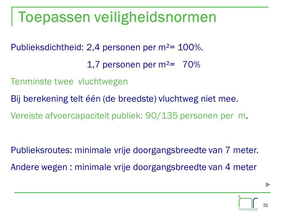 31 Toepassen veiligheidsnormen Publieksdichtheid: 2,4 personen per m²= 100%. 1,7 personen per m²= 70% Tenminste twee vluchtwegen Bij berekening telt é