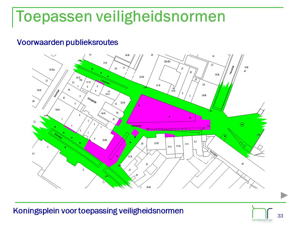 33 Koningsplein voor toepassing veiligheidsnormen Voorwaarden publieksroutes Toepassen veiligheidsnormen