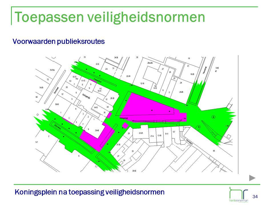 34 Koningsplein na toepassing veiligheidsnormen Voorwaarden publieksroutes Toepassen veiligheidsnormen