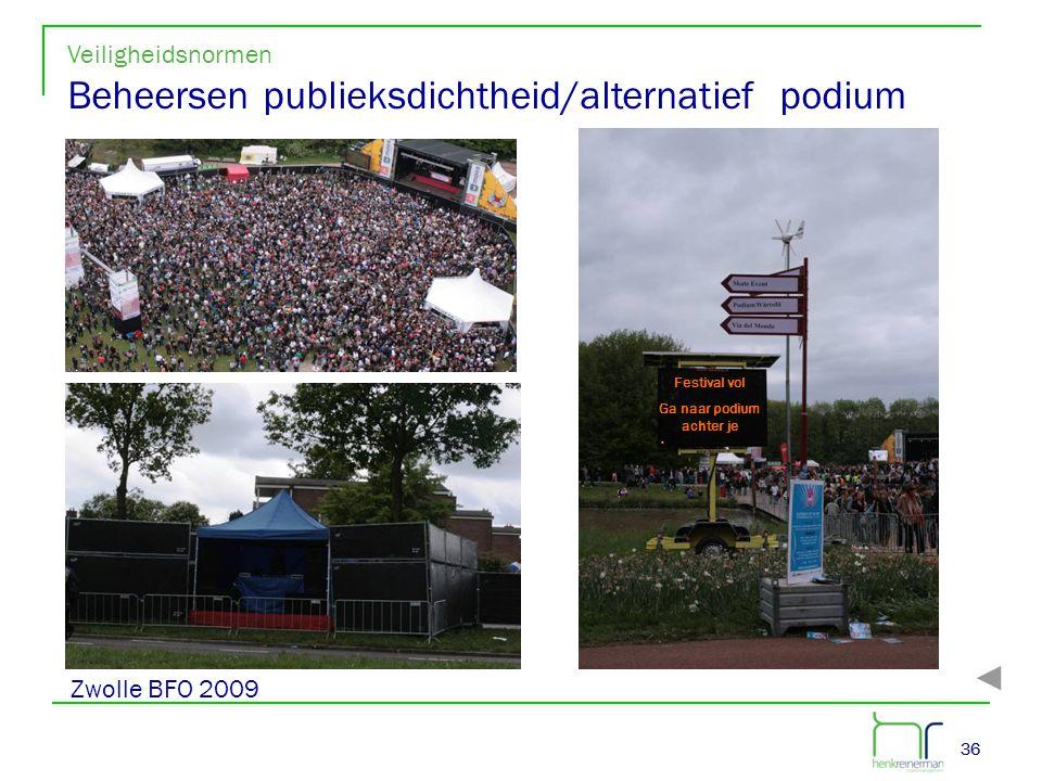 36 Festival vol Ga naar podium achter je Veiligheidsnormen Beheersen publieksdichtheid/alternatief podium Zwolle BFO 2009
