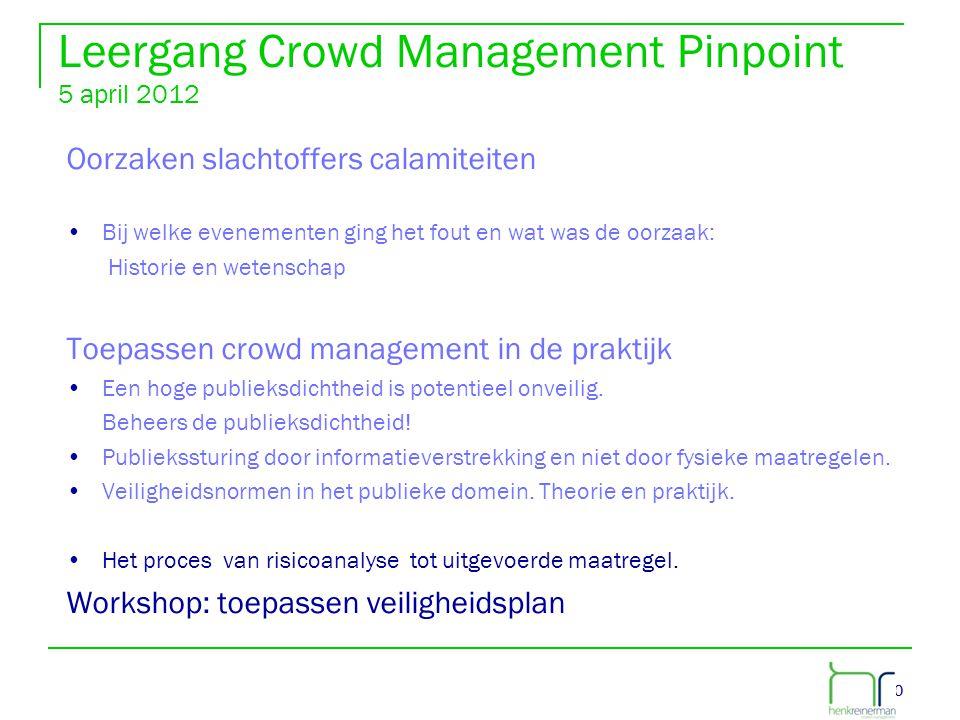 40 Leergang Crowd Management Pinpoint 5 april 2012 Oorzaken slachtoffers calamiteiten •Bij welke evenementen ging het fout en wat was de oorzaak: Hist