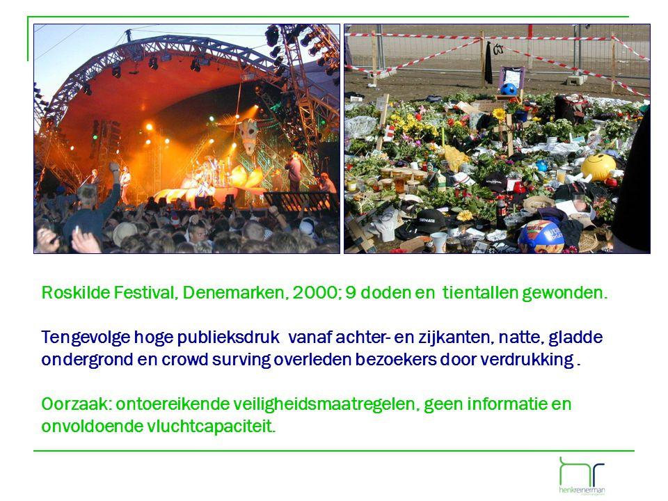Roskilde Festival, Denemarken, 2000; 9 doden en tientallen gewonden. Tengevolge hoge publieksdruk vanaf achter- en zijkanten, natte, gladde ondergrond