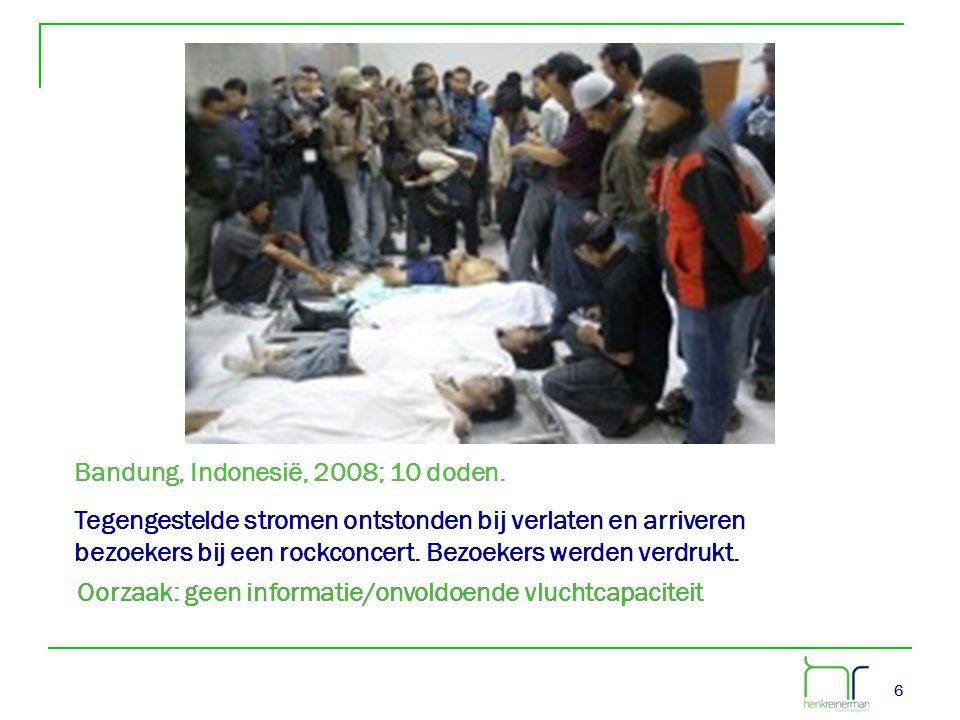 66 Bandung, Indonesië, 2008; 10 doden. Tegengestelde stromen ontstonden bij verlaten en arriveren bezoekers bij een rockconcert. Bezoekers werden verd