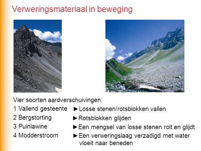 Vier soorten aardverschuivingen: 1 Vallend gesteente 2 Bergstorting 3 Puinlawine 4 Modderstroom ►Losse stenen/rotsblokken vallen ►Rotsblokken glijden