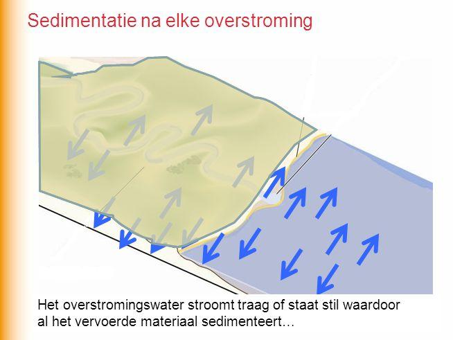 Het overstromingswater stroomt traag of staat stil waardoor al het vervoerde materiaal sedimenteert… Sedimentatie na elke overstroming