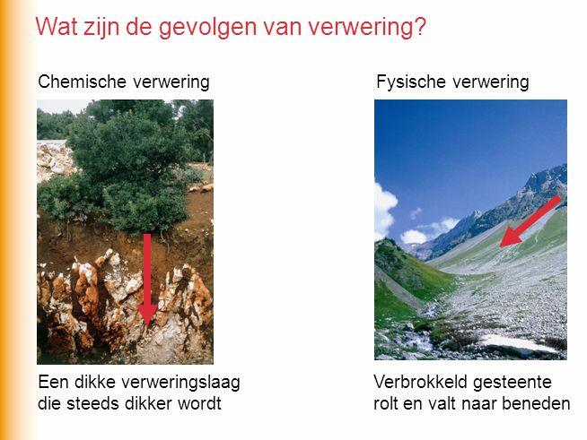 Chemische verwering verloopt sneller als -de temperatuur … -de vochtigheid … -het gesteente … Fysische verwering verloopt sneller als -de temperatuur … -het gesteente … Chemische verwering verloopt sneller als - de temperatuur hoog is - de vochtigheid hoog is - het gesteente bedekt is Fysische verwering verloopt sneller als - de temperatuur sterk wisselt - de temperatuur regelmatig de 0°C passeert - het gesteente bloot ligt Verwering wordt beïnvloed door het klimaat…