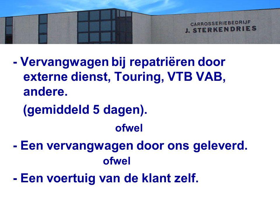 - Vervangwagen bij repatriëren door externe dienst, Touring, VTB VAB, andere.