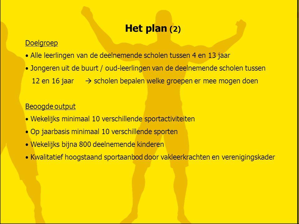 Het plan (3) Beoogde outcome • Jongeren hebben iets te doen en veroorzaken daardoor geen problemen • Jongeren komen in aanraking met georganiseerde sport • De gezondheid van de jongeren wordt bevorderd.