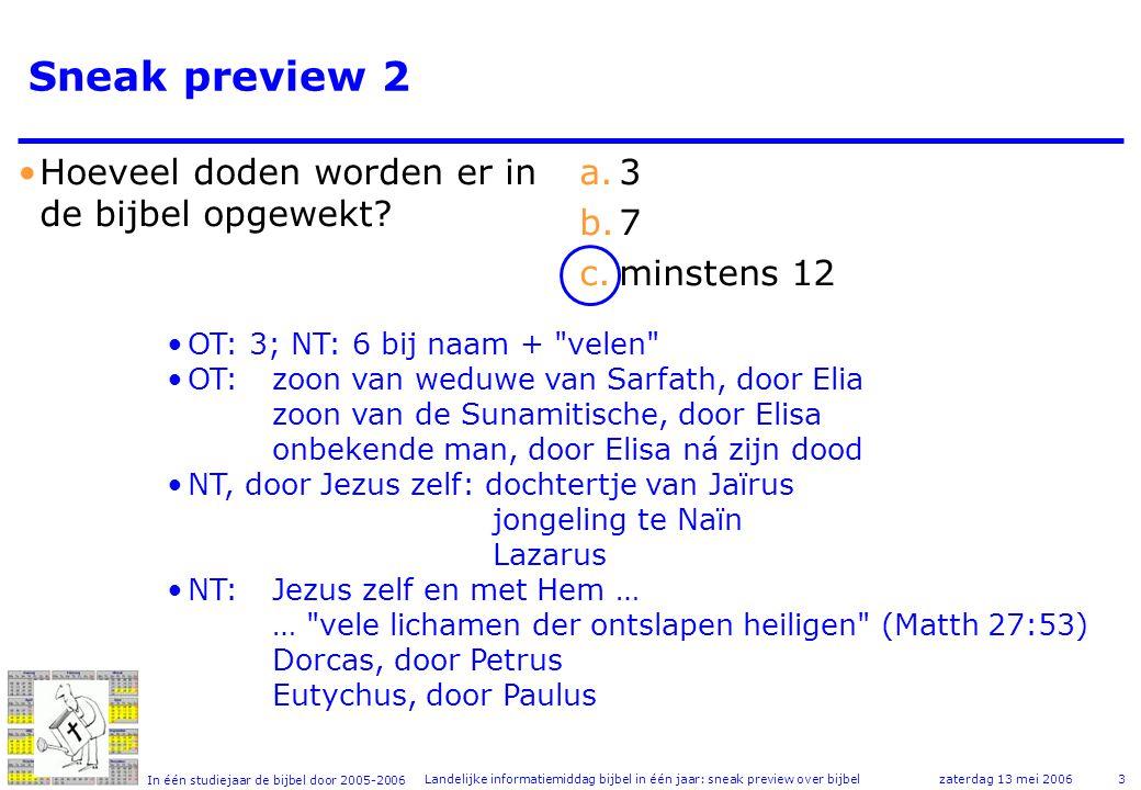 In één studiejaar de bijbel door 2005-2006 zaterdag 13 mei 2006Landelijke informatiemiddag bijbel in één jaar: sneak preview over bijbel3 Sneak preview 2 •Hoeveel doden worden er in de bijbel opgewekt.