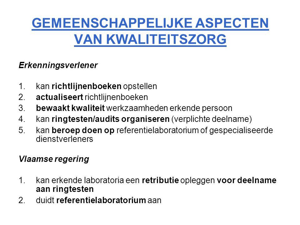 GEMEENSCHAPPELIJKE ASPECTEN VAN KWALITEITSZORG Erkenningsverlener 1.kan richtlijnenboeken opstellen 2.