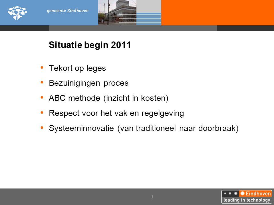 1 Situatie begin 2011 • Tekort op leges • Bezuinigingen proces • ABC methode (inzicht in kosten) • Respect voor het vak en regelgeving • Systeeminnovatie (van traditioneel naar doorbraak)