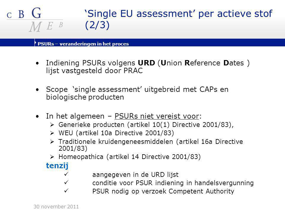 PSURs – veranderingen in het proces 'Single EU assessment' per actieve stof (2/3) •Indiening PSURs volgens URD (Union Reference Dates ) lijst vastgest