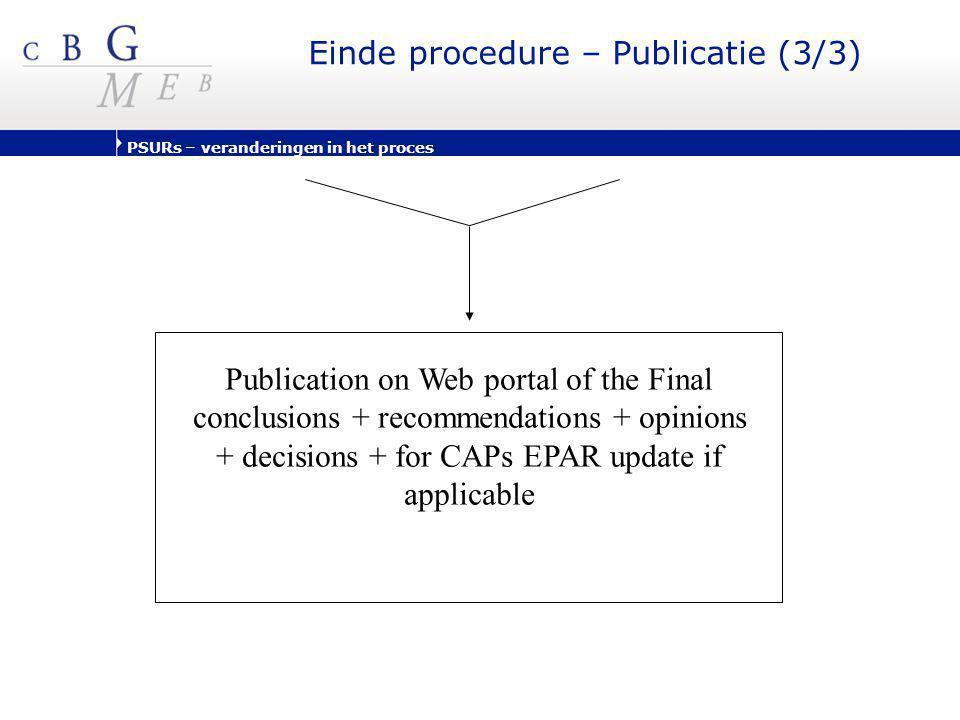 PSURs – veranderingen in het proces Einde procedure – Publicatie (3/3) Publication on Web portal of the Final conclusions + recommendations + opinions