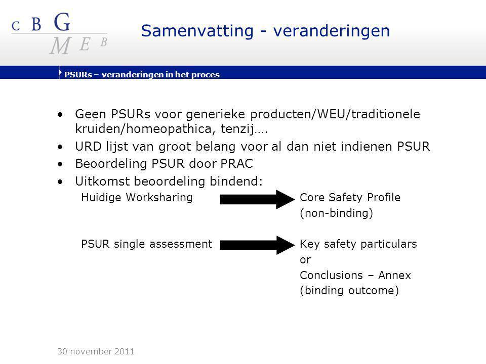 PSURs – veranderingen in het proces Samenvatting - veranderingen •Geen PSURs voor generieke producten/WEU/traditionele kruiden/homeopathica, tenzij….