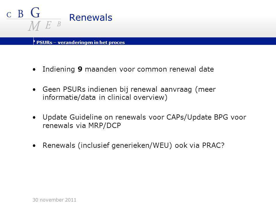 PSURs – veranderingen in het proces Renewals •Indiening 9 maanden voor common renewal date •Geen PSURs indienen bij renewal aanvraag (meer informatie/