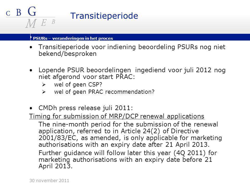 PSURs – veranderingen in het proces Transitieperiode •Transitieperiode voor indiening beoordeling PSURs nog niet bekend/besproken •Lopende PSUR beoord