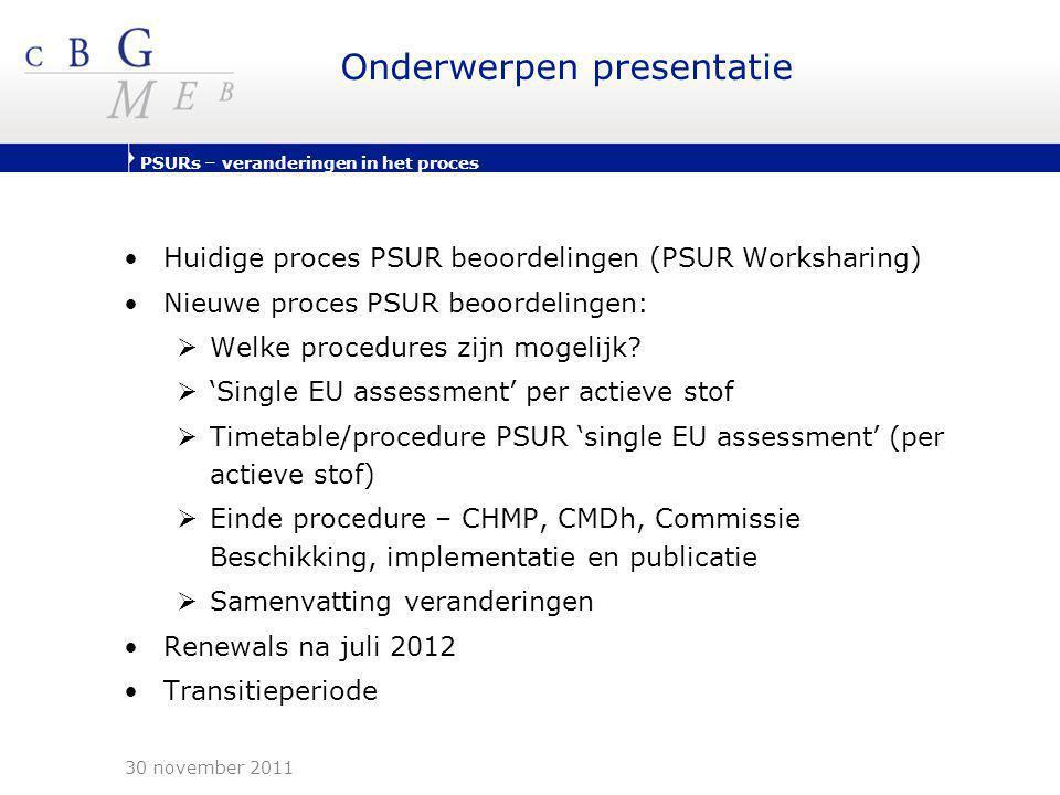 PSURs – veranderingen in het proces Onderwerpen presentatie •Huidige proces PSUR beoordelingen (PSUR Worksharing) •Nieuwe proces PSUR beoordelingen: 