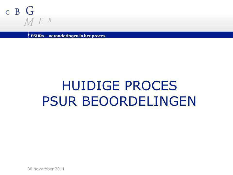 PSURs – veranderingen in het proces Huidige proces (1/2) PSUR Worksharing (PSUR WS) •Per actieve stof gelijktijdige indiening •Indiening gebaseerd op H(armonised)B(irth)D(ate)s van innovator product, gepubliceerd op HMA website •Vrijwillige deelname & niet-bindende uitkomst •Producten aanvaard via nationale/MRP/DCP procedures – géén C(entrally)A(uthorised)P(product)s •Generieke firma's wordt aanbevolen HBD te volgen en mee te doen met Worksharing procedure •P-RMS beoordeelt ingediende PSURs actieve stof •P-CMS vult aan met PSURs niet geregistreerd in P-RMS •Uitkomst: CSP als minimale veiligheidsinformatie (niet- bindend) 30 november 2011