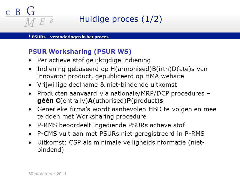 PSURs – veranderingen in het proces Huidige proces (1/2) PSUR Worksharing (PSUR WS) •Per actieve stof gelijktijdige indiening •Indiening gebaseerd op