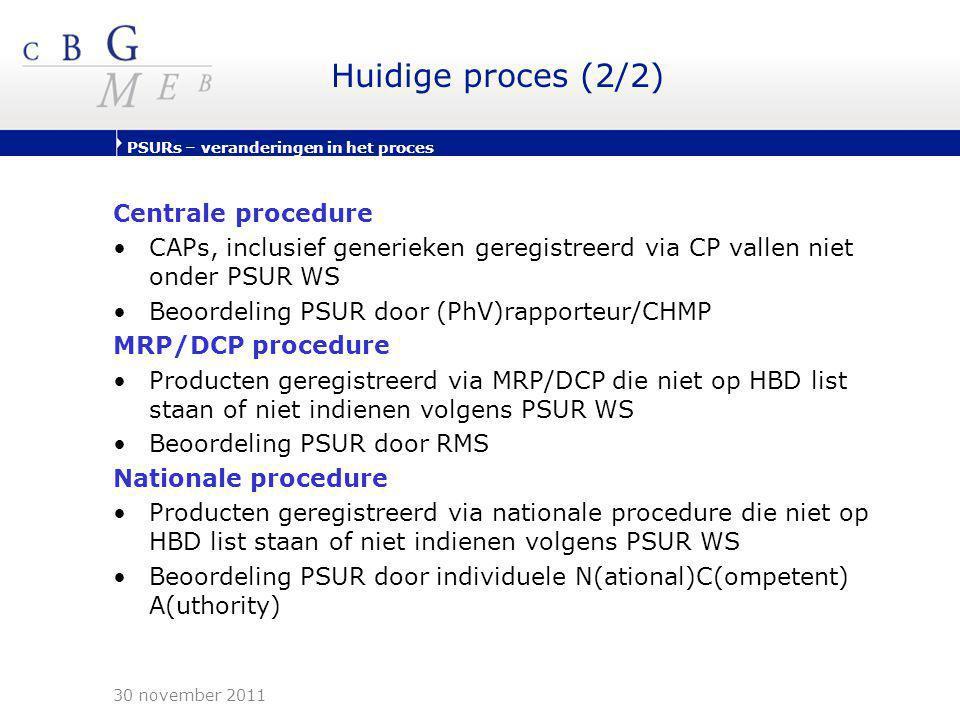 PSURs – veranderingen in het proces Huidige proces (2/2) Centrale procedure •CAPs, inclusief generieken geregistreerd via CP vallen niet onder PSUR WS