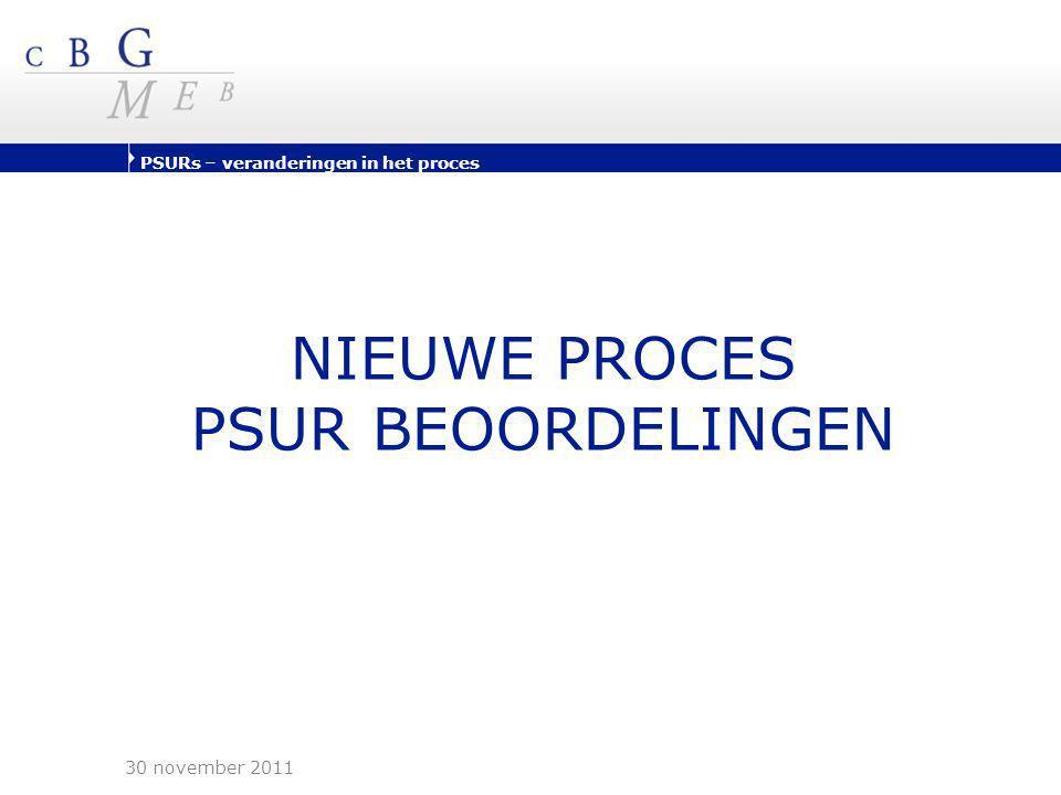 PSURs – veranderingen in het proces NIEUWE PROCES PSUR BEOORDELINGEN 30 november 2011